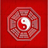 Chinese Bagua Symbol On Red - Vector Illustration