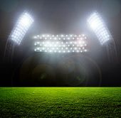 image of arena  - Soccer ball on the field of stadium with light - JPG