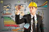 foto of draft  - Energetic project draft of a construction engineer - JPG