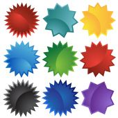 picture of starburst  - starburst set colors isolated on a white background - JPG