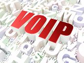 Web development concept: VOIP on alphabet background