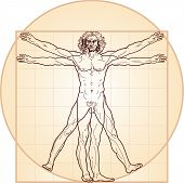 The Vitruvian man, or so called Leonardo's man. Versione in colore.