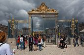 Before Heavy Storm In Front Of The Main Entrance Of Versailles Palace