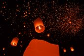 Buddhist sky lanterns firework festival of lights