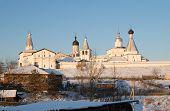 Northern Russian Monastery In Winter.