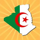Algeria map flag on sunburst vector illustration