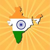 India map flag on sunburst vector illustration