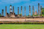 Sitting Budha in Wat Mahathat, Sukhothai,Thailand.