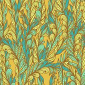 Seamless Floral Vintage Blue And Yellow Doodle Pattern With Abstract Feathers