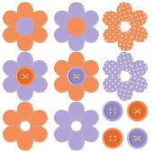 set with scrapbook flowers and buttons