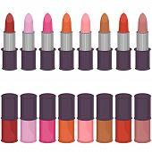 set with lipsticks and nail polish