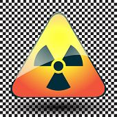 Radiation Hazard Warning Sign On A Triangular Table On Black And White Background.