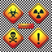 Warning Labels - Biohazard, Radiation, Poison, Danger, And A Plaque With The Inscription-dangerous.