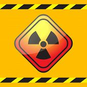 image of biological hazard  - Radiation hazard warning sign on a square table on yellow background with warning ribbons - JPG