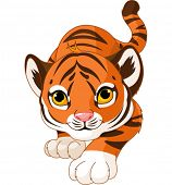 Illustration of crouching baby tiger
