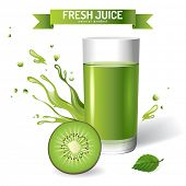 Fresh juice background with kiwi
