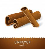 Cinnamon sticks over white background