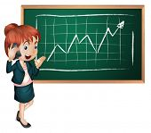 Illustration of a lady using her cellular phone in front of the blackboard on a white background