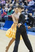 Minsk-belarus, February, 9: Unidentified Dance Couple Performs Youth-2 Latin-american Program On Ogn