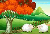 stock photo of log fence  - Illustration of the two sheeps under the tree - JPG