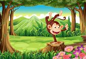 Illustration of a playful monkey above the stump near the trees