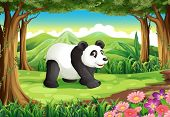 Illustration of a big panda bear at the forest