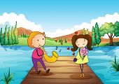 picture of serenade  - Illustration of a young man serenading her girlfriend at the riverbank - JPG
