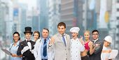 professions and people concept - group of people including businessmen, doctor, nurse, magician, helpline operator, cook, personal trainer