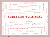 Skilled Trades Word Cloud Concept On A Whiteboard