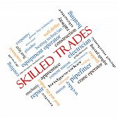 Skilled Trades Word Cloud Concept Angled
