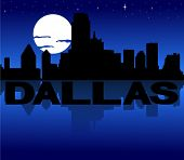 Dallas skyline reflected with text and moon vector illustration