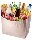 Paper bag with food isolated on a white background. File contains clipping path.