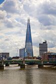 London view and Shard from the Thames river