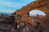 pic of turret arch  - Beautiful sunrise over Turret Arch through North Window Arches National Park Utah - JPG