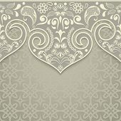 Abstract beige floral vintage card design with copy space.