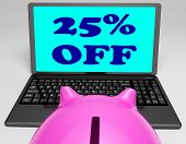 Twenty-five Percent Off Laptop Means Online Shopping Save 25