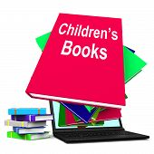Children's Books Book Stack Laptop Shows Reading For Kids