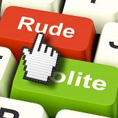 stock photo of rude  - Rude Impolite Computer Meaning Insolence Bad Manners - JPG
