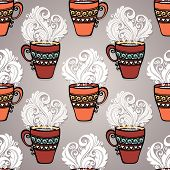 Seamless Pattern with Decorative Cups of Tea