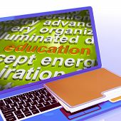 Education Word Cloud Laptop Means Teaching Schooling Or Training