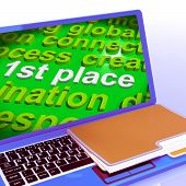 First Place Word Cloud Laptop Shows 1St Winner Reward And Success