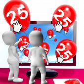 Number 25 Balloons From Monitor Show Internet Invitation Or Celebration