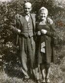 SIERADZ, POLAND - MAY 28, 1948: vintage photo of couple