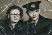 SIERADZ, POLAND - CIRCA FIFTIES: vintage photo of couple