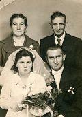 SIERADZ, POLAND, SEPTEMBER 20, 1959 - vintage photo of newlyweds with family