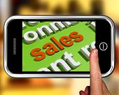 Sales In Word Cloud Phone Shows Promotions And Deals