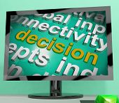 Decision Word Cloud Screen Shows Choice Or Decide