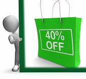 Forty Percent Off Shopping Bag Shows Reduction