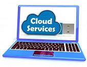 Cloud Services Memory Stick Laptop Shows Internet File Backup And Sharing