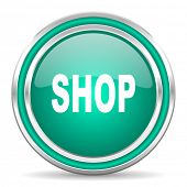 shop green glossy web icon